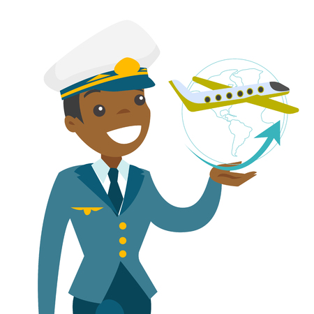 Airplane captain in pilot hat looking at a plane turning around globe. Concept of global travelling and transportation. Vector cartoon illustration isolated on white background.