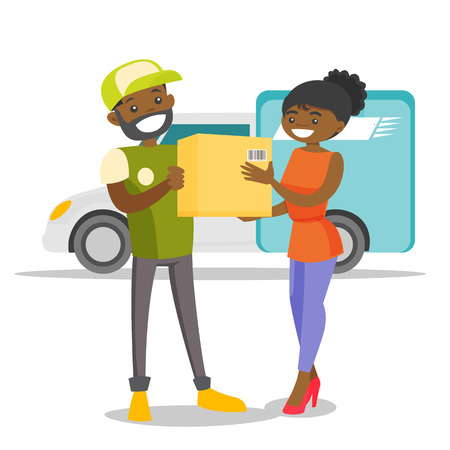 A black man courier delivers a boxed package to a woman. Courier service, delivery and transportation concept. Vector cartoon illustration isolated on white background. Vectores