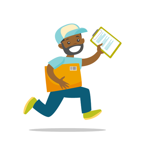 A black man courier runs to deliver a package. There are box and papers to sign in couriers hands. Fast delivery service concept. Vector cartoon illustration isolated on white background. Illustration