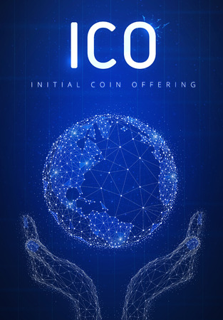 ICO initial coin offering futuristic hud background with glowing polygon world globe in hands, blockchain peer to peer network and title ICO. Global cryptocurrency business and finance banner concept.