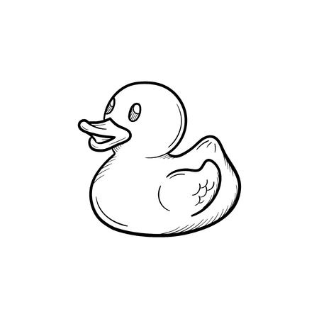 Icono de doodle de contorno dibujado de mano de pato de baño. Pato de goma para baño de bebé ilustración de dibujo de vector de bañera para impresión, web, móvil e infografía aislado sobre fondo blanco.