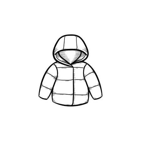 Child coat hand drawn outline doodle icon. Warm child coat or jacket for kids and newborn baby vector sketch illustration for print, web, mobile and infographics isolated on white background.