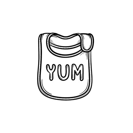 Baby bib hand drawn outline doodle icon. Baby bib as accessory for newborn baby vector sketch illustration for print, web, mobile and infographics isolated on white background.  イラスト・ベクター素材