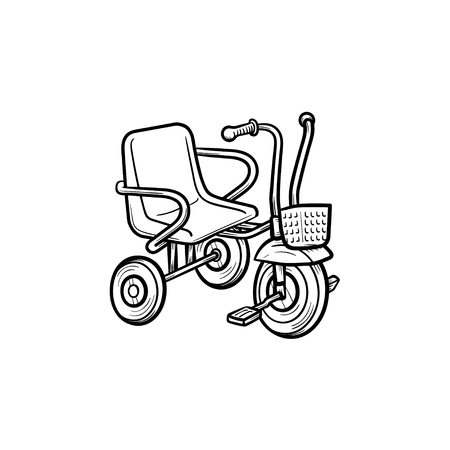Tricycle hand drawn outline doodle icon. Tricycle or baby bicycle as kids playing concept vector sketch illustration for print, web, mobile and infographics isolated on white background.