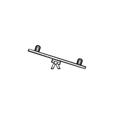 Seesaw hand drawn outline doodle icon isolated on white background.