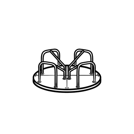 Playground roundabout hand drawn outline doodle icon. Concept of kids outdoor playground with carousel vector sketch illustration for print, web, mobile and infographics isolated on white background. Stock Illustratie