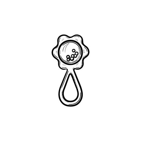 Contorno dibujado mano traqueteo doodle icono. Sonajero como concepto de niños y accesorios para bebés ilustración de dibujo vectorial para impresión, web, móvil e infografía aislado sobre fondo blanco.