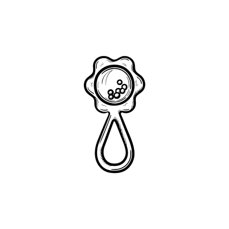 Rattle hand drawn outline doodle icon. Rattle as concept of kids and baby accessory vector sketch illustration for print, web, mobile and infographics isolated on white background.