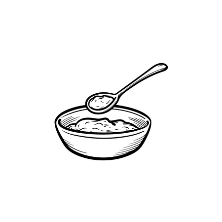 Baby bowl and spoon hand drawn outline doodle icon isolated on white background. Çizim