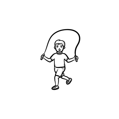 Child with skipping rope hand drawn outline doodle icon. Child jumps over skipping rope vector sketch illustration for print, web, mobile and infographics isolated on white background. Illustration