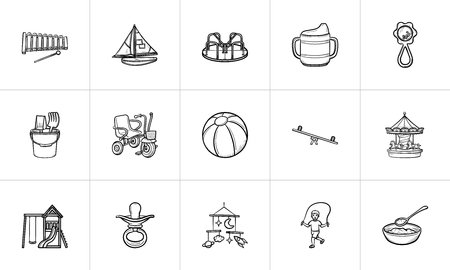 Kids toys and supplies hand drawn outline doodle icon set for print, web, mobile and infographics. Infant newborn baby theme vector sketch illustration set isolated on white background.