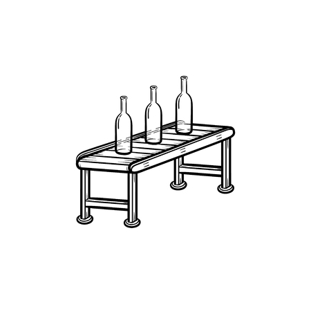 Conveyor belt with glass or plastic bottles hand drawn outline doodle icon. Modern factory concept vector sketch illustration for print, web, mobile and infographics isolated on white background.