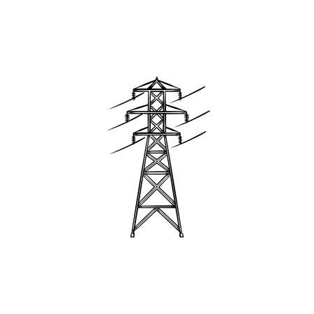 Electrical wire power line hand drawn outline doodle icon. Electricity distribution technology concept vector sketch illustration for print, web, mobile and infographics isolated on white background.