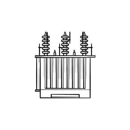 Electrical voltage transformer hand drawn outline doodle icon. Electricity distribution concept vector sketch illustration for print, web, mobile and infographics isolated on white background. Stock Illustratie