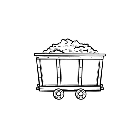 Mining trolley with coal hand drawn outline doodle icon. Coal cart as mining industry concept vector sketch illustration for print, web, mobile and infographics isolated on white background. Vettoriali