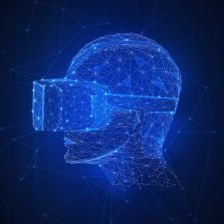 Virtual reality technology futuristic hud background. Polygon human with 360 VR headset glasses of virtual reality. Using of high technology and 3d mask concept. Low poly design. Square layout Stock Photo