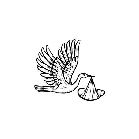 A stork carrying a wraped baby hand drawn outline doodle icon. Newborn delivery and baby shower concept vector sketch illustration for print, web, mobile and infographics isolated on white background. Standard-Bild - 101756041