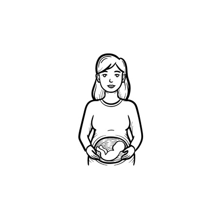 A woman with a fetus in womb hand drawn outline doodle icon. Pregnant woman, maternity concept vector sketch illustration for print, web, mobile and infographics isolated on white background.