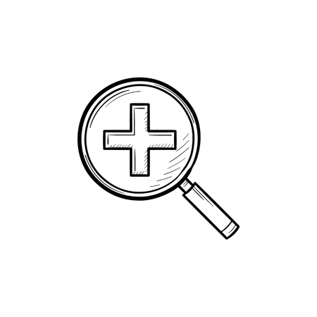 Magnifying glass with positive plus sign inside hand drawn outline doodle icon. Search and zoom concept vector sketch illustration for print, web, mobile and infographics isolated on white background.