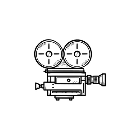 Retro video camera hand drawn outline doodle icon. Vintage movie, film and cinema camera with reels vector sketch illustration for print, web, mobile and infographics isolated on white background.