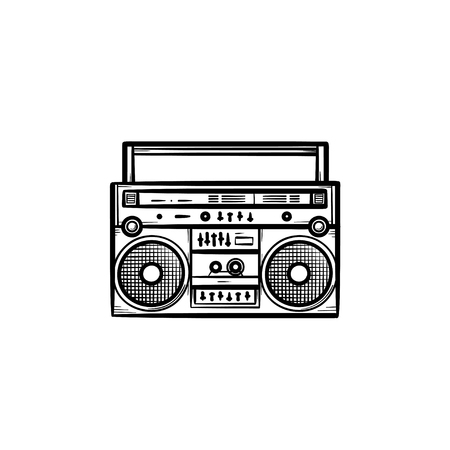 Tape recorder with radio hand drawn outline doodle icon. Vintage portable audio music and sound concept vector sketch illustration for print, web, mobile and infographics isolated on white background.