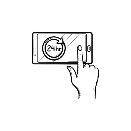A smartphone with 24h symbol hand drawn outline doodle icon. Availability concept vector sketch illustration for print, web, mobile and infographics isolated on white background.  イラスト・ベクター素材