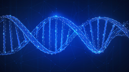 DNA chain futuristic hud background with spiral chain of nucleotides. Health, medicine, chemistry, biotechnology, biological data transfer and DNA molecules structure concept. Low poly design.