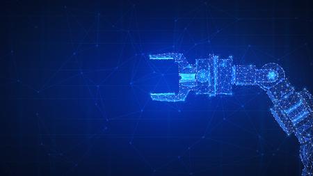 Fond de hud futuriste bras robotique. Polygon robo hand en tant que concept d'automatisation, de machinerie, de technologie robotique, de révolution industrielle et d'intelligence artificielle. Conception basse poly.