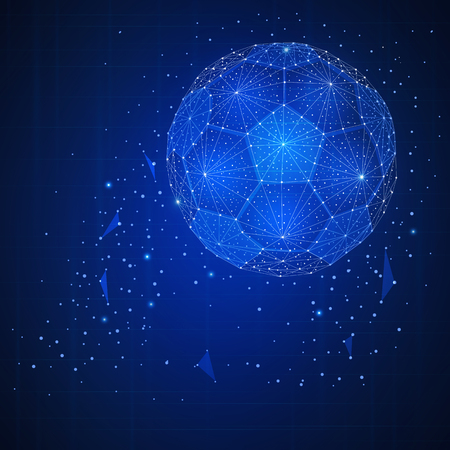 Football ball futuristic hud banner. Polygon soccer ball representing global sport competition.  Modern game tournament concept. Low poly design. Square layout
