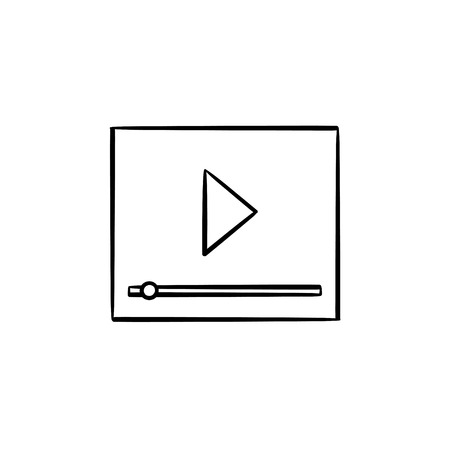 Video player interface with progress bar hand drawn outline doodle icon. Online streaming source vector sketch illustration for print, web, mobile and infographics isolated on white background. Illustration