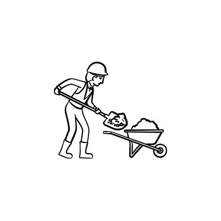 Un minatore spalare il terreno e l'icona di doodle di contorni disegnati a mano carriola. Illustrazione di schizzo di vettore di concetto di industria mineraria per stampa, web, mobile e infografiche isolato su priorità bassa bianca.