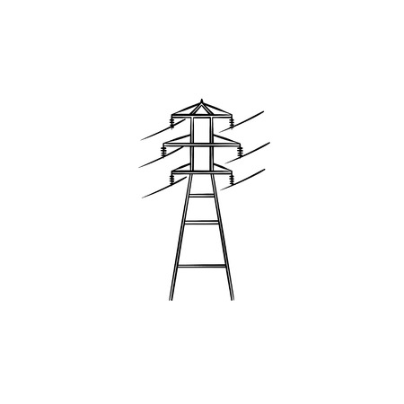 Electrical wire power line hand drawn outline doodle icon. High voltage line concept vector sketch illustration for print, web, mobile and infographics isolated on white background.