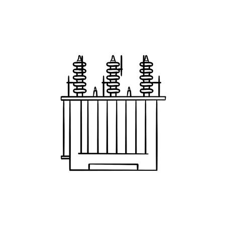 Icône de doodle contour dessiné main transformateur de tension électrique. Illustration de croquis de vecteur de concept de station d'énergie pour impression, web, mobile et infographie isolé sur fond blanc.