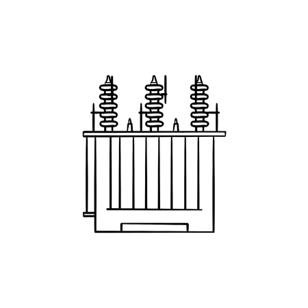 Electrical voltage transformer hand drawn outline doodle icon. Energy station concept vector sketch illustration for print, web, mobile and infographics isolated on white background. Illustration