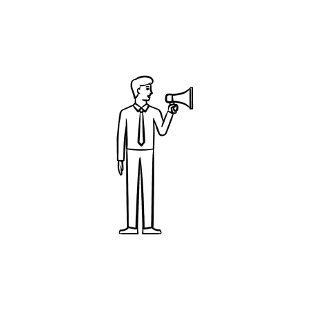 Businessman with megaphone hand drawn outline doodle icon. A man making announcement vector sketch illustration for print, web, mobile and infographics isolated on white background.