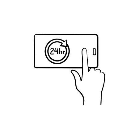 A smartphone with 24h symbol hand drawn outline doodle icon. Availability and service concept vector sketch illustration for print, web, mobile and infographics isolated on white background.  イラスト・ベクター素材