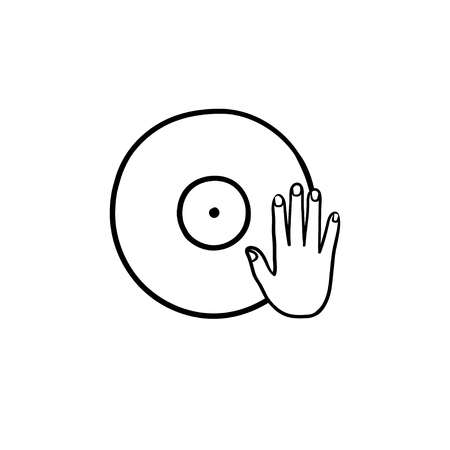 DJing and remixing hand drawn outline doodle icon. Vinyl record turning as DJ set concept vector sketch illustration for print, web, mobile and infographics isolated on white background. 矢量图像