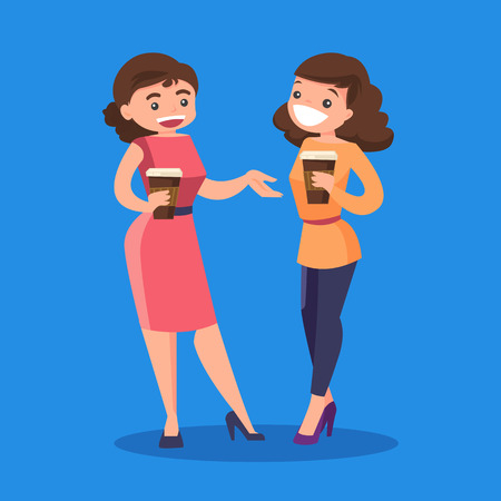 Two young caucasian white business women drinking coffee. Joyful smiling female colleagues with takeaway coffee talking. Vector cartoon illustration isolated on solid background. Square layout. Illustration