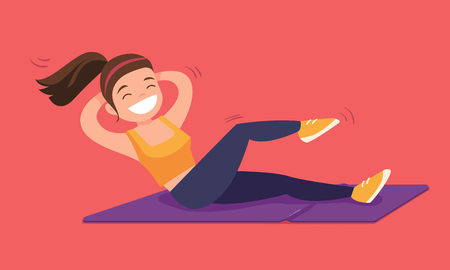 Young caucasian white woman doing crunches on a gym mat. Woman doing fitness exercise for upper and lower abs on the floor. Vector cartoon illustration isolated on solid background. Horizontal layout.