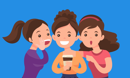 Young caucasian white woman shielding her mouth and whispering a gossip to her friends. Three women discussing gossips. Vector cartoon illustration isolated on solid background. Horizontal layout.