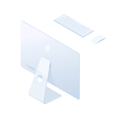 Isometric desktop computer with keyboard, mouse and back side screen in white body isolated on white background. Technology and computing design element. Vector 3d cartoon.
