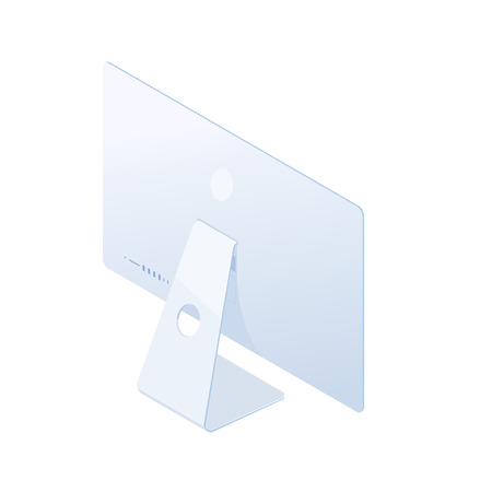Isometric desktop computer in white body, back side isolated on white background. Technology and computing design element. Vector 3d cartoon.