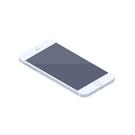 Isometric white smartphone isolated illustration. Technology and computing design element. Horizontally oriented mobile phone with locked display isometric vector 3d cartoon on white background.  イラスト・ベクター素材