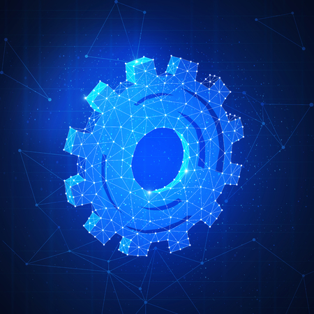 Technology gear futuristic hud background. Polygon gear wheel as a concept of set up, computing systems settings, automatization, machinery, high technology, industrial revolution. Square layout.