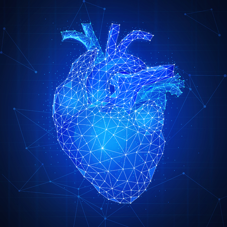 Polygonal anatomic humans heart with aorta and veins on peer to peer blockchain network technology background representing life and health care concept. Low poly design. Square layout.