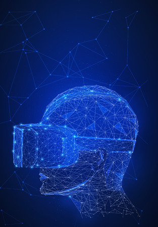 Virtual reality technology network futuristic hud polygon humans head with VR headset on peer to peer network background represent high technology and digital device concept. Vertical layout.