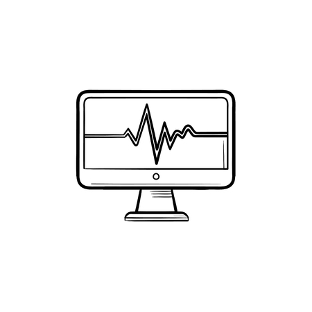 ECG monitor with heart beat hand drawn outline doodle icon. Cardiogram displaying heart beat concept vector sketch illustration for print, web, mobile and infographics isolated on white background.