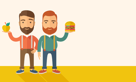 A two businessmen standing and comparing Apple to hamburger of which is healthy food. A Contemporary style with pastel palette, soft beige tinted background. Vector flat design illustration. Horizontal layout with text space in right side.