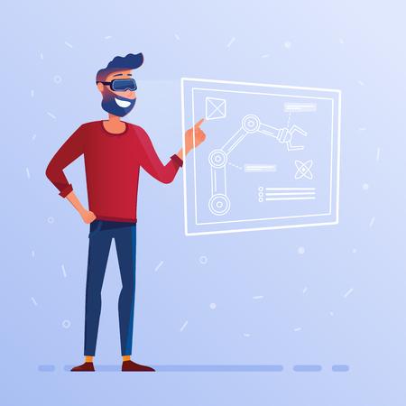 Un uomo in cuffia VR con interfaccia hud che mostra progetto tecnologico con braccio robotico. Il nuovo braccio robotico caratterizza l'esame. Concetto di business e industria. Fumetto illustrazione vettoriale. Pianta quadrata