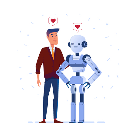 Robot and human in love. Futuristic concept of relationship between human and artificial intelligence, robotization and automatization. Vector flat design illustration. Square layout.